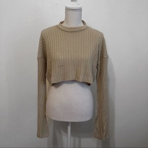 Ripped ribbed knit crop sweater